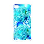 Blue Ice Crystals, Abstract Aqua Azure Cyan Apple iPhone 4 Case (White)