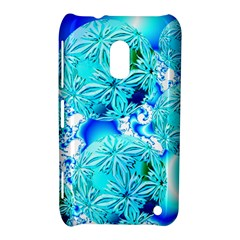 Blue Ice Crystals, Abstract Aqua Azure Cyan Nokia Lumia 620 Hardshell Case from Diane Clancy Art Front