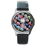 Easter Egg Bunny Treasure Round Leather Watch (Silver Rim)