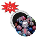 Easter Egg Bunny Treasure 1.75  Button Magnet (10 pack)