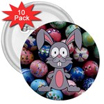 Easter Egg Bunny Treasure 3  Button (10 pack)