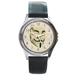 We The Anonymous People Round Leather Watch (Silver Rim)