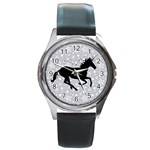 Unicorn on Starry Background Round Leather Watch (Silver Rim)