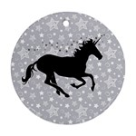 Unicorn on Starry Background Round Ornament