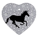 Unicorn on Starry Background Heart Ornament