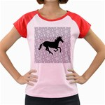 Unicorn on Starry Background Women s Cap Sleeve T-Shirt (Colored)