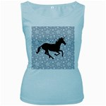 Unicorn on Starry Background Women s Tank Top (Baby Blue)