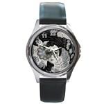 Venetian Mask Round Leather Watch (Silver Rim)