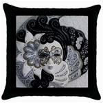 Venetian Mask Black Throw Pillow Case