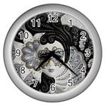 Venetian Mask Wall Clock (Silver)
