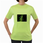 Dark Faery and Night Waterfall Women s Green T-Shirt