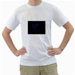 Dark Gothic Blue Faery Fairy on Black White T-Shirt