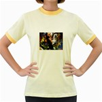 Dragon and Gothic Mistress on Unicorn Women s Fitted Ringer T-Shirt