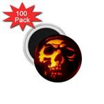 Fiery Skull on Black 1.75  Magnet (100 pack)