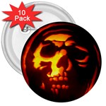 Fiery Skull on Black 3  Button (10 pack)
