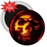 Fiery Skull on Black 3  Magnet (10 pack)