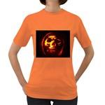 Fiery Skull on Black Women s Dark T-Shirt