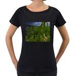 Gothic Fantasy Graveyard Maternity Black T-Shirt
