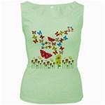 Butterfly Beauty Women s Tank Top (Green)