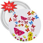 Butterfly Beauty 3  Button (10 pack)