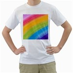 Acrylic Rainbow Men s Two-sided T-shirt (White)