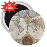 1794 World Map 3  Button Magnet (10 pack)