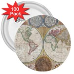 1794 World Map 3  Button (100 pack)
