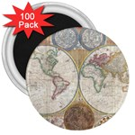 1794 World Map 3  Button Magnet (100 pack)