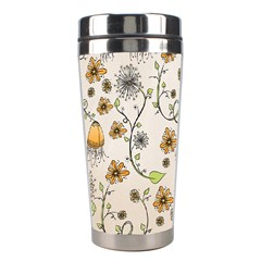 Yellow Whimsical Flowers  Stainless Steel Travel Tumbler by Zandiepants