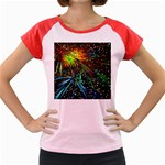 Exploding Fireworks Women s Cap Sleeve T-Shirt (Colored)