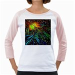 Exploding Fireworks Women s Long Cap Sleeve T-Shirt (White)