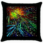 Exploding Fireworks Black Throw Pillow Case