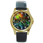 Exploding Fireworks Round Leather Watch (Gold Rim)