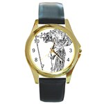 Domestically Disabled Round Leather Watch (Gold Rim)