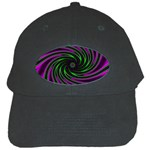 Neon Pink and Green Dizzy Fractal Black Cap