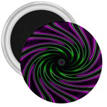 Neon Pink and Green Dizzy Fractal 3  Magnet