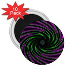 Neon Pink and Green Dizzy Fractal 2.25  Magnet (10 pack)