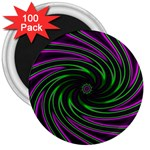 Neon Pink and Green Dizzy Fractal 3  Magnet (100 pack)