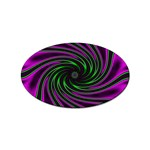 Neon Pink and Green Dizzy Fractal Sticker Oval (100 pack)