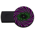 Neon Pink and Green Dizzy Fractal USB Flash Drive Round (1 GB)
