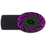 Neon Pink and Green Dizzy Fractal USB Flash Drive Oval (1 GB)