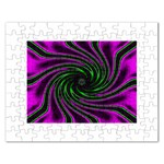 Neon Pink and Green Dizzy Fractal Jigsaw Puzzle (Rectangular)