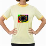 Primary Colors Bright Fractal Women s Fitted Ringer T-Shirt