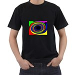 Primary Colors Bright Fractal Black T-Shirt