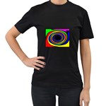 Primary Colors Bright Fractal Women s Black T-Shirt