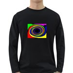 Primary Colors Bright Fractal Long Sleeve Dark T-Shirt