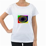 Primary Colors Bright Fractal Maternity White T-Shirt