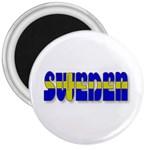 Flag Spells Sweden 3  Button Magnet