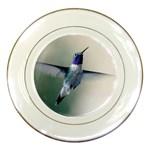 Male Ruby Throated Hummingbird In Flight Porcelain Plate