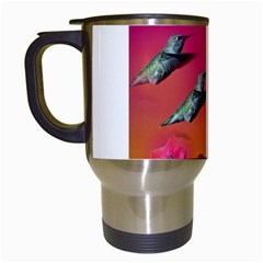 Two Hummingbirds in flight Travel Mug (White) from Hummingbird and Butterfly Gifts Left